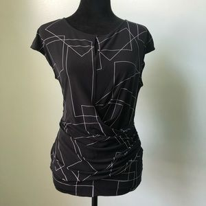 New York & Co geometric rouched top blouse shirt L